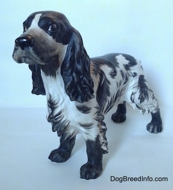 The front left side of a figurine of a English Springer Spaniel with a matte finish. The figurine has large black and bushy ears.