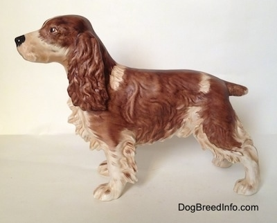 The left side of a brown and white English Springer Spaniel in a standing pose figurine with a matte finish. The figurine has fine face details.