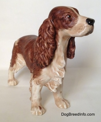 A figurine of a brown and white English Springer Spaniel in a standing pose figurine with a matte finish. The figurine has long legs and white paws.