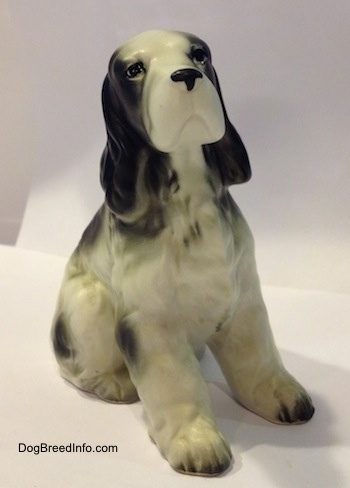 A black and white English Springer Spaniel in a sitting pose figurine. That