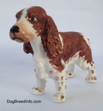 The front left side of a figurine of a English Springer Spaniel. The nose of the figurine is black.