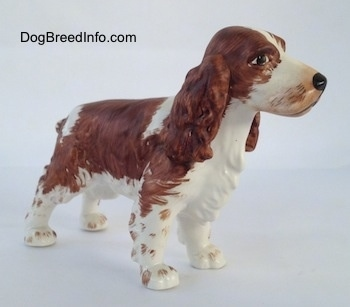 The front right side of a brown and white English Springer Spaniel figurine. The face of the figurine has great details.