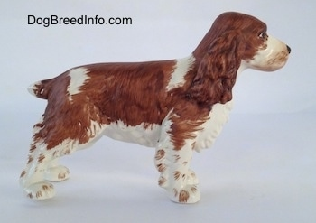 The right side of a figurine of a brown and white English Springer Spaniel. The figurine has long bushy brown ears.