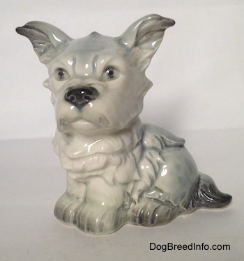 The front left side of a hairy French Bull Tzu figurine. The figurine has black circles for eyes.
