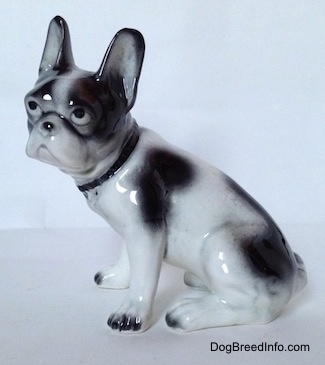 The left side of a white and black French Bulldog figurine in a sitting pose. The figurine has black spots all over its body.