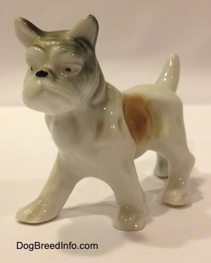 The front left side of a white with brown and green porcelain French Bulldog figurine in a standing pose. The figurine has mediumg sized legs and small paws.