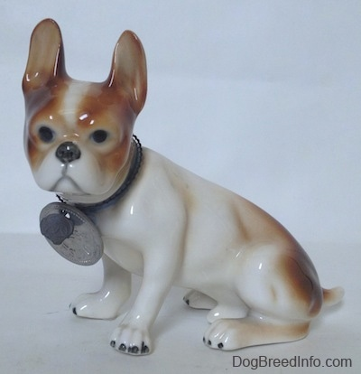 Teh left side of a brown and white French Bulldog figurine. The figurine is looking forward and it has black circles for eyes.