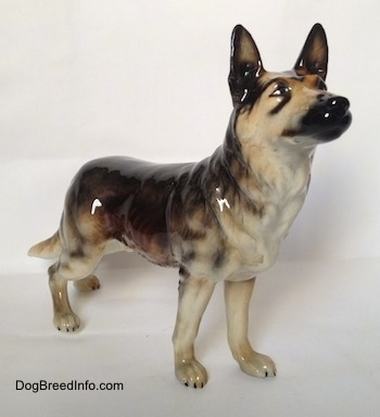 The front right side of a figurine of a black and grey standing German Shepherd. The figurine has its mouth painted open.