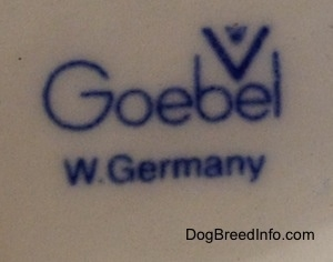 Close up - The Goebel W.Germany stamp is stamped on the underside of a figurine.