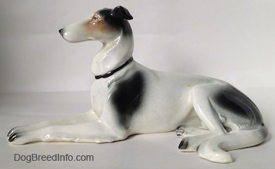 The left side of a white with black and tan Greyhound figurine in a lying down pose. The figurine has a couple of large black spots on its body.