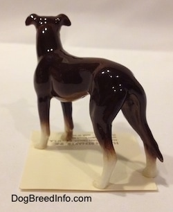 The back left side of a brown with white Greyhound. The figurine has a glossy backside.