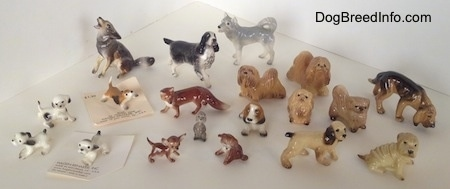 Topdown view of a collection of dog figurines.