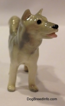 The front of a grey and white Husky figurine. The figurine has short ears that are grey.