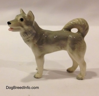 The left side of a grey and white Husky figurine. The figurine has black circles for eyes and its pink mouth is painted open. It has small perk ears and a fluffy tail that is curled up over its back.