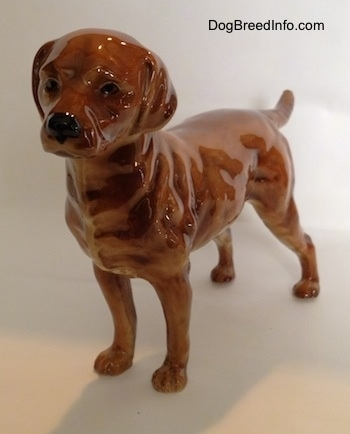 The front left side of a brown Labrador Retriever figurine. The figurine has black circles for eyes and they are detailed.