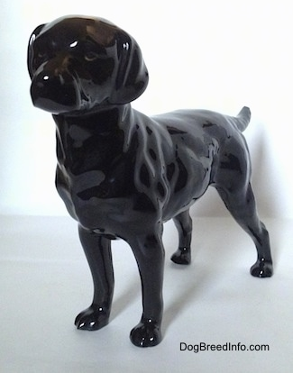 The front left side of a black Labrador Retriever figurine that has black circles for eyes and it is looking forward.