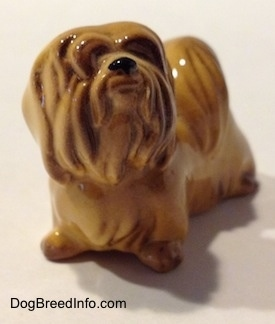 The front left side of a Lhasa Apso figurine. The figurine is looking up and to the right and it has hair along its face.