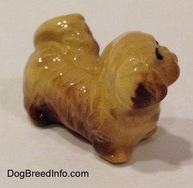 The front right side of a figurine of a brown and tan Pekingese puppy. The figurine is looking up and to the right.
