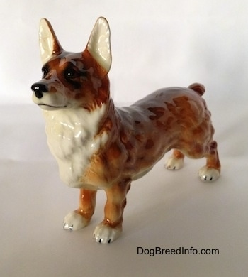 The front left side of a brown with white and black Pembroke Welsh Corgi porcelain figurine. The figurine has white paws with black nails. Its ears are tall with white on the inside. It has a black nose and black eyes.