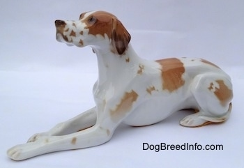 The front left side of a porcelian white with brown Pointer in a lying pose figurine. The figurine has long ears down the side of its head.