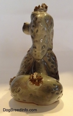 Vintage ceramic spaghetti Poodle figurine from the 1940s to 1950s. Back view.