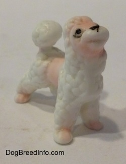 The front right side of a figurine of a white bone china Poodle puppy. The figurine has a mouth etched in it, but no paint has been added to it.