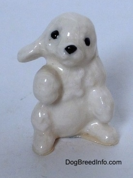 A figurine of a white Poodle puppy in a begging pose.