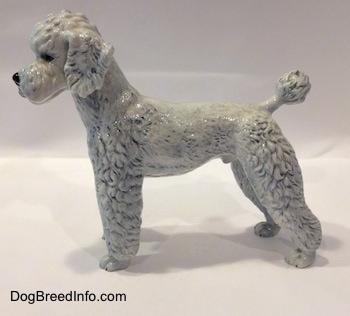 The left side of a porcelain white with blue Poodle figurine. The figurine ears are flopped over.