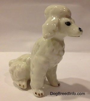 The front right side of a figurine of a white bone china Poodle figurine in a sitting position. The figurine has poofy leg and chest hair.