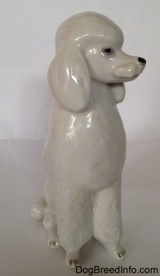 A porcelain figurine of a white standard Poodle in a sitting pose. The figurine has a poof of hair at the top of its head.