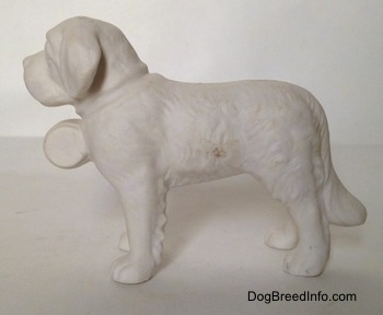 The left side of a white bisque figurine of a porcelain Saint Bernard. The figurine has a long tail.