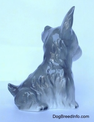 The right side of grey and white miniature Schnauzer sitting figurine. The figurine has a short tail that is arched into the air.