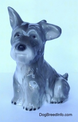 The front left side of a grey and white figurine of a miniature Schnauzer sitting. The figurines left ear is hanging to the side and its right ear is in the air.