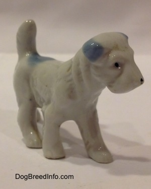The front right side of a white with blue bone china Miniature Schnauzer standing figurine. The figurine has fine hair details.