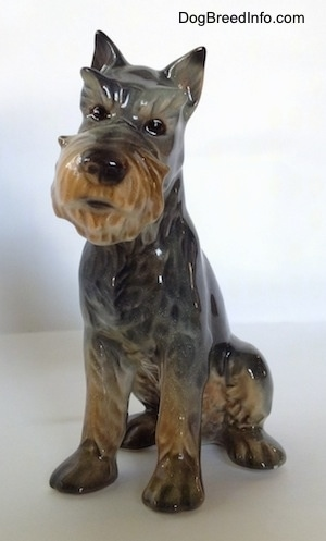 The front left side of a grey and tan Schnauzer figurine. The head of the figurine is tilted to the right and it has a detailed face.
