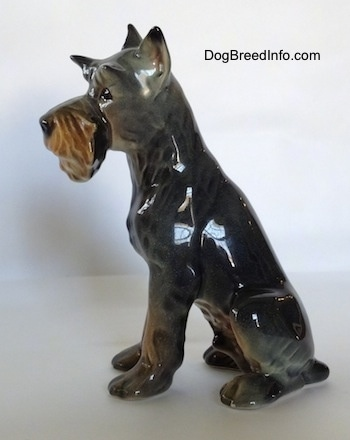 The left side of a figurine of a grey with tan Schnauzer. The figurine is glossy.