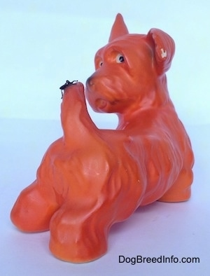 The back right side of a figurine of an orange with black Scottish Terrier. The figurine has white circles with black circles inside of it for eyes.