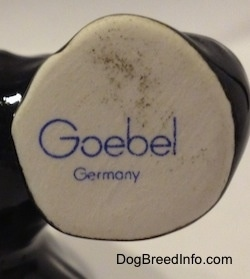 Close up - A Goebel Germany stamp on the bottom of a figurines foot.