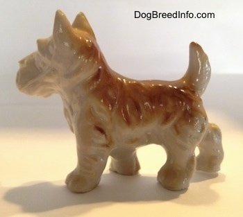 The left side of a brown and white figurine of a bone china Scottish Terrier. The figurines tail is arched into the air.