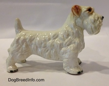 The right side of a white with brown Sealyham Terrier figurine. The figurine has a long body.
