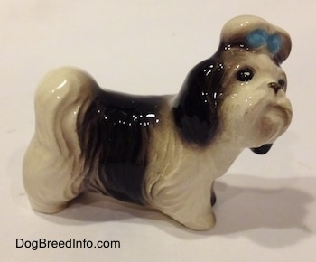 The right side of a white with black Shih Tzu figurine with a blur bow in its hair. The figurine is looking up and to the right.
