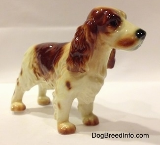 The front right side of a figurine of a red and white standing Welsh Springer Spaniel. The figurine has a black nose.