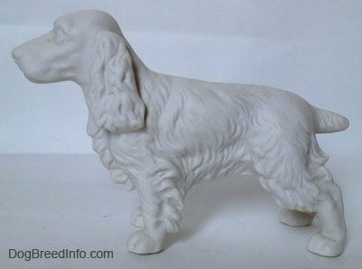 The left side of an unpainted white bisque Welsh Springer Spaniel. The figurine has fine hair details along its body.