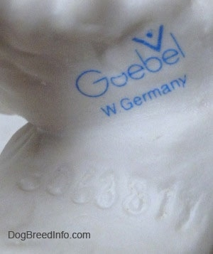 Close up - The logo of Goebel W.Germany that is on the underside of a figurine of a Welsh Springer Spaniel.