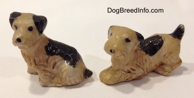 Two miniature vintage bone china Welsh Terrier puppies.