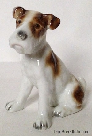 A white with brown figurine of a Wire Fox Terrier that is sitting. The figurine has detailed brown with black eyes.
