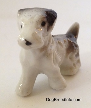 The front left side of a bone china Wire Fox Terrier figurine that has black ears.