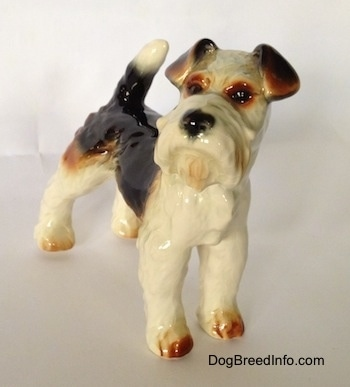 The front right side of a black and white with brown figurine of a Wire Fox Terrier. The figurine has black circles for eyes.