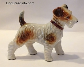 The right of a white with tan figurine of a porcelain Wire Fox Terrier standing. The figurine has a brown collar on.