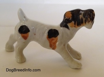 The right side of a bone china figurine of a white with black and brown Wire Fox Terrier in a play bow pose. The figurine has short legs.